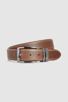 Next Leather Gunmetal Keeper Belt