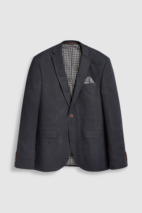 Next Signature Textured Linen Blend Slim Fit Blazer