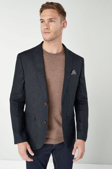 Next Signature Textured Linen Blend Slim Fit Blazer - 226458