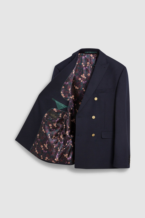 Next Signature British Wool Jacket-Double Breasted Slim Fit