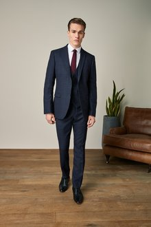 Next Slim Fit Wool Blend Check Suit: Jacket