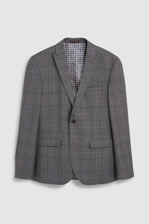Next Tailored Fit Prince Of Wales Check Suit: Jacket