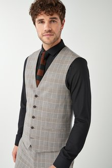 Next Skinny Fit Check Suit: Waistcoat