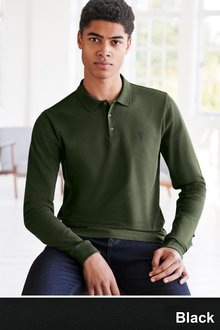 Next Long Sleeve Pique Polo - 226591