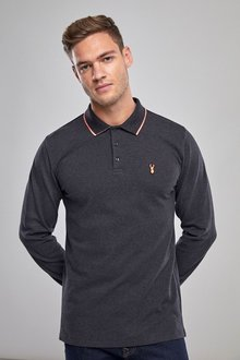 Next Long Sleeve Neon Tipped Polo