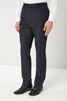 Next Slim Fit Wool Blend Check Suit: Trousers