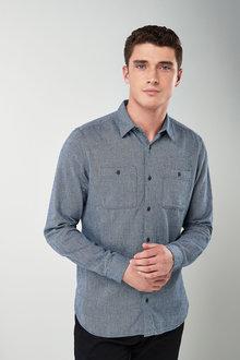 Next Textured Long Sleeve Shirt