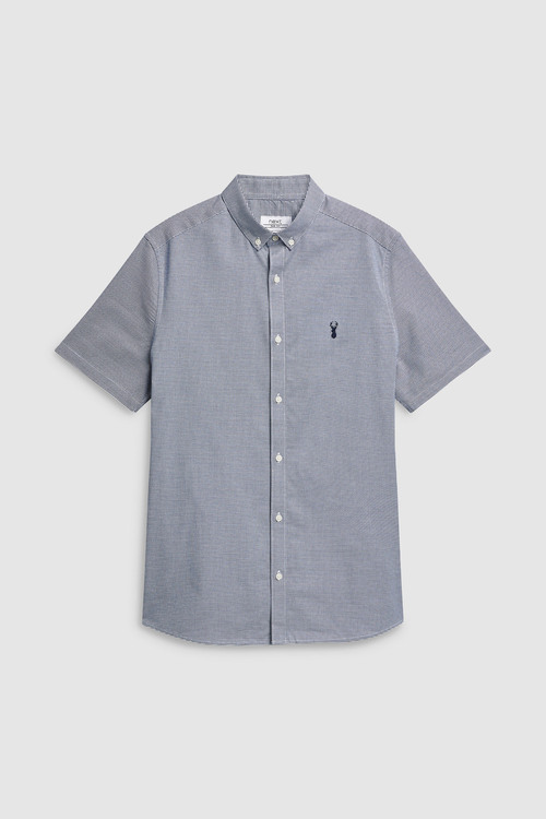 Next Slim Fit Long Sleeve Puppytooth Shirt