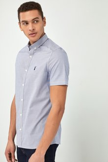 Next Slim Fit Long Sleeve Puppytooth Shirt - 226804