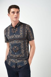 Next Short Sleeve Paisley Tile Print Shirt