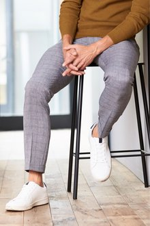 Next Windowpane Check Trousers-Skinny Fit