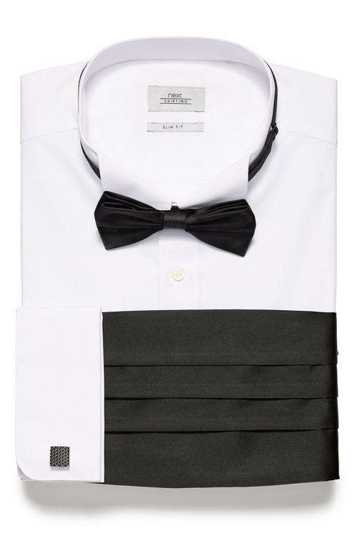 Next Wing Collared Shirt With Bow Tie, Cummerbund And Cufflinks-Slim Fit Double Cuff