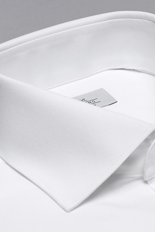 Next Cutaway Collar Cotton Shirt-Slim Fit Single Cuff