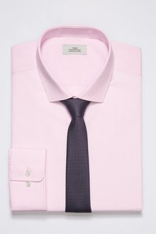 Next Shirt With Textured Tie Set-Slim Fit Single Cuff