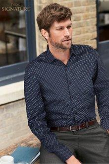 Next Floral Print Signature Shirt-Regular Fit Single Cuff