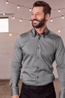 Next Double Collar Shirt-Regular Fit Single Cuff