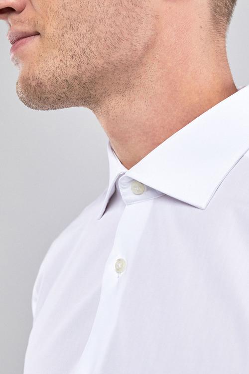 Next Curved Cutaway Collar Shirt-Slim Fit Double Cuff