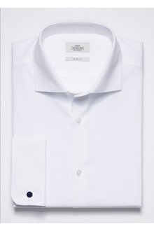 Next Curved Cutaway Collar Shirt-Slim Fit Double Cuff
