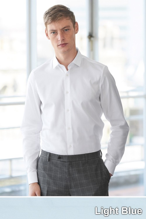 Next Cotton Shirt-Regular Fit Double Cuff