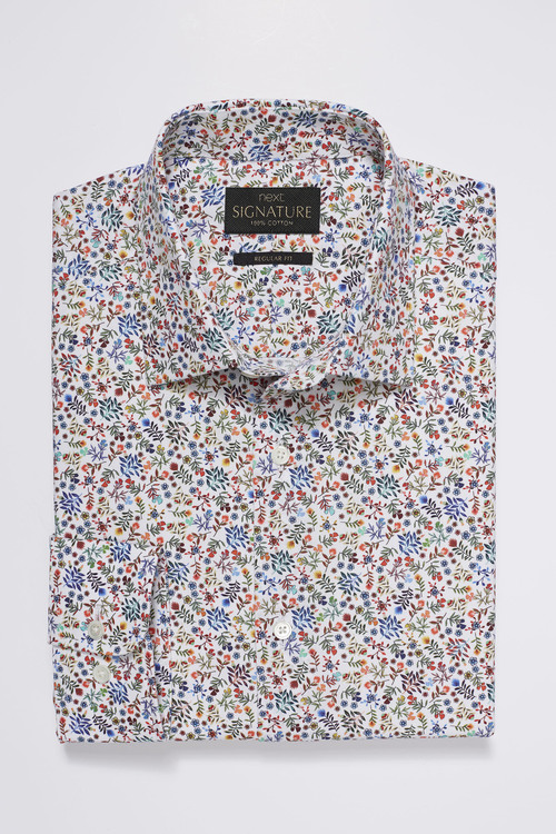 Next Signature Texta Fabric Floral Printed Regular Fit Shirt