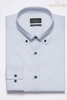 Next Signature Geometric Button Down Regular Fit Shirt