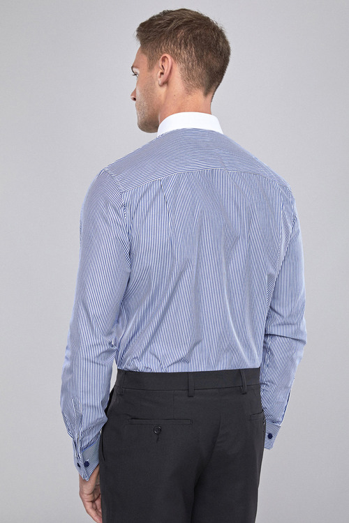 Next Regular Fit Easy Care Stripe Shirt With Contrast Collar