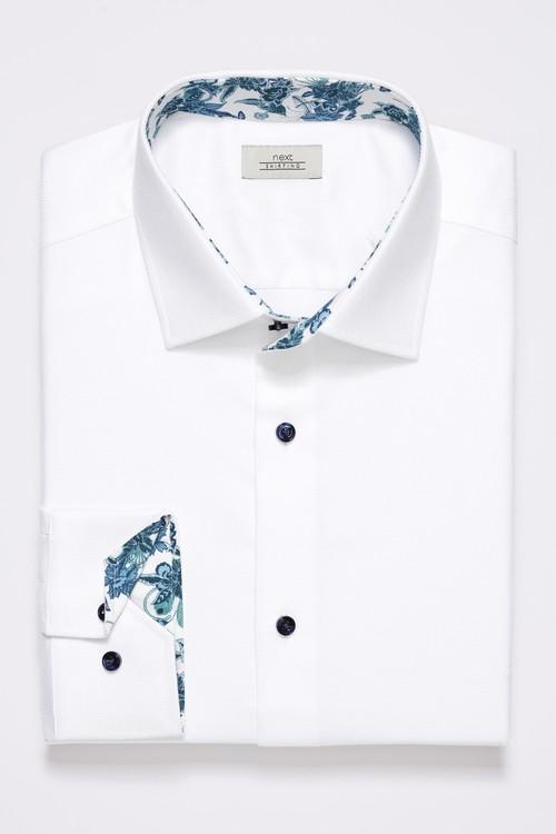 Next Textured Floral Trim Shirt
