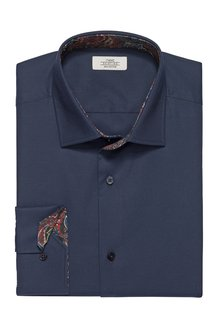 Next Slim Fit Shirt With Paisley Trim