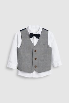 Next Check Waistcoat, Shirt And Bow Tie Three Piece Set (3mths-7yrs)