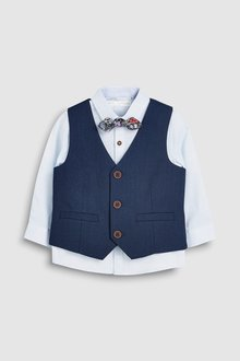 Next Waistcoat, Shirt And Bow Tie Three Piece Set (3mths-7yrs)