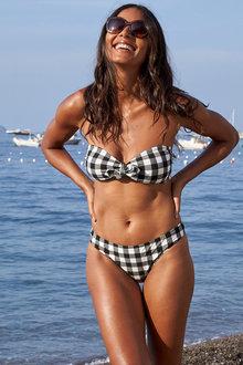 Next Mono Gingham Soft Bandeau Bikini Top