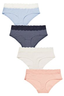 e1442e8d44 Next Lace Trim Cotton Knickers Four Pack-Short