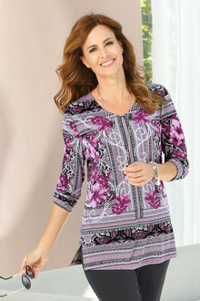 Capture European Floral Placement Print Top - 227107