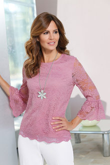Capture European Flute Sleeve Lace Top - 227108