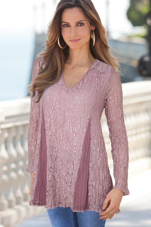 European Collection Crinkle Lace Top