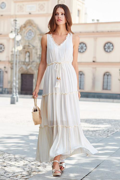 European Collection Tassel Trim Maxi Dress