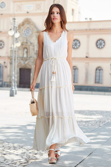 European Collection Tassel Trim Maxi Dress - 227146