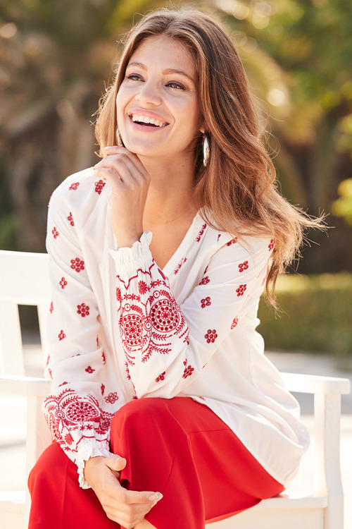 European Collection Embroidered Tassel Top