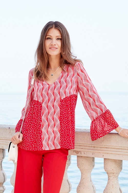 European Collection Printed Bell Sleeve Top