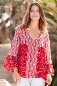 European Collection Printed Bell Sleeve Top - 227151