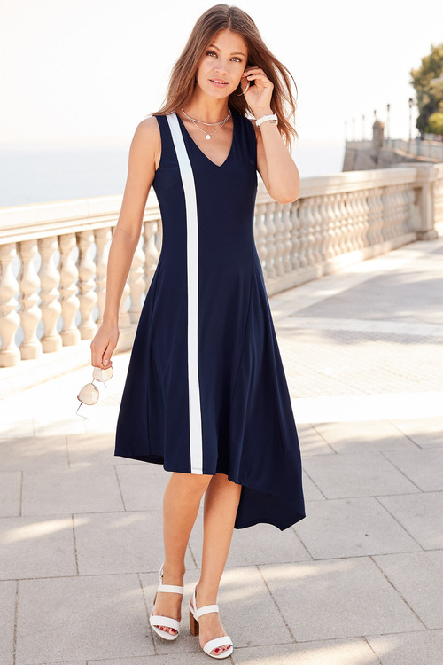 European Collection Asymmetric Jersey Dress