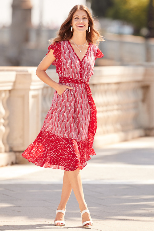 European Collection Ruffle Sleeve Print Dress