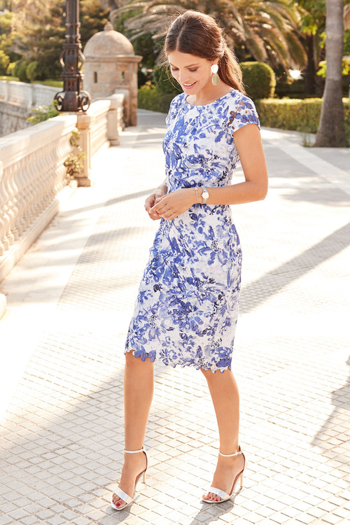 European Collection Printed Lace Dress