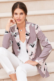 European Collection Printed Long Blazer
