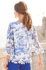 European Collection Printed Lace Top