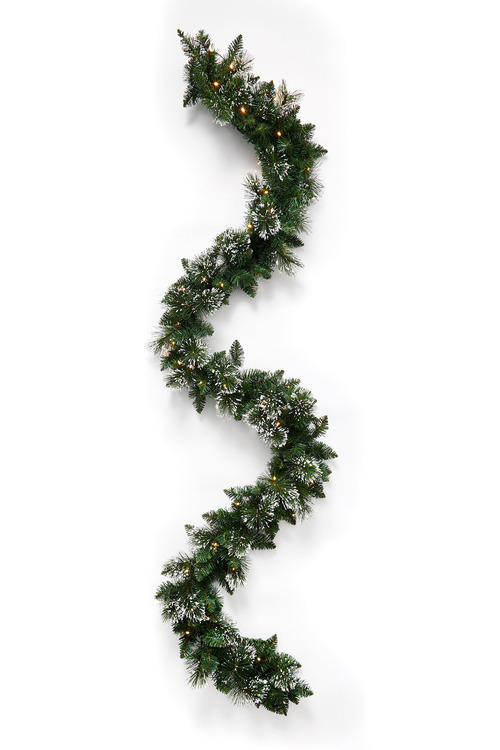 9 Foot Prelit Frosted Christmas Garland