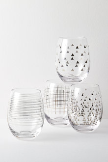 Celebration Stemless Wine Glasses Set of Four Assorted