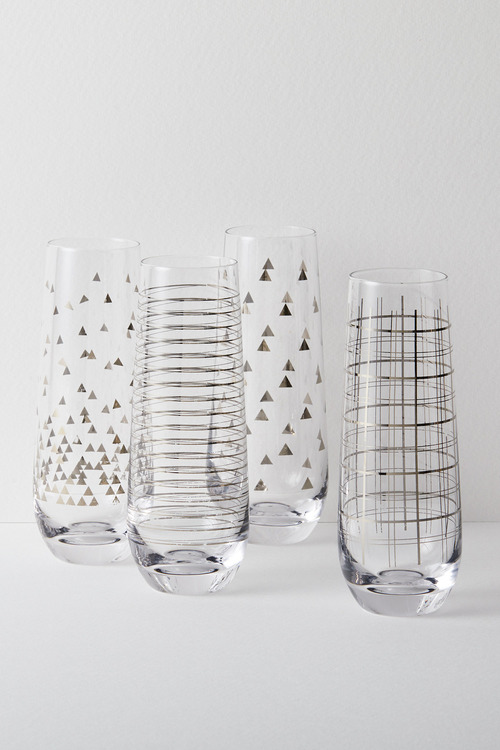 Celebration Stemless Champagne Flutes Set of Four Assorted