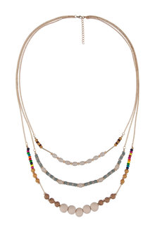 Amber Rose Triple Strand Multi Bead Natural Necklace
