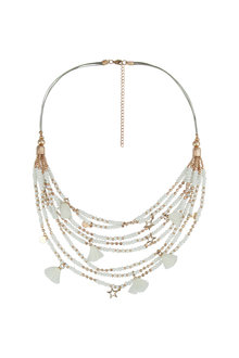 Amber Rose Multi Strand Charmed Short Necklace